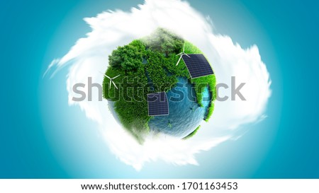 Sustainable earth concept, globe with wind mills and green continents, save the earth, sustainability