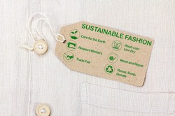 Sustainable fashion label with text and icons
