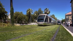 Sustainable public transport moving on green grass tracks, urban infrastructure