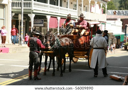SUTTER CREEK, CALIFORNIA - JUNE 19: The Annual Black Bart Hold-up Reenactment on June 19, 2010 at Sutter Creek, California.