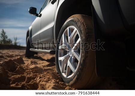 Suv car stuck in sands. Off road car stopped in desert during off road