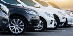 SUV cars in a row. Used car sales