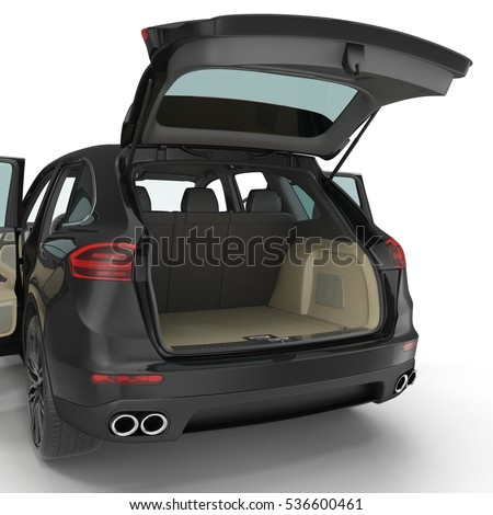 SUV clean empty trunk isolated on a white. 3D illustration