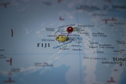 Suva, capital city of Fiji pinned on geographical map