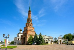 Suyumbike Tower in Kazan Kremlin, Tatarstan, Russia. This leaning building is famous tourist attraction of Kazan. View of old landmark and residence of president of republic in Kazan center in summer