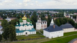 Suzdal, Russia. Flight. The Saviour Monastery of St. Euthymius. Cathedral of the Transfiguration of the Lord in the Spaso-Evfimiev Monastery. Belfry, Aerial View
