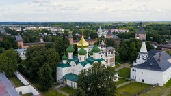 Suzdal, Russia. Flight. The Saviour Monastery of St. Euthymius. Cathedral of the Transfiguration of the Lord in the Spaso-Evfimiev Monastery, Aerial View