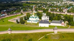 Suzdal, Russia. Flight. The Saviour Monastery of St. Euthymius is a monastery in Suzdal, founded in 1352, Aerial View