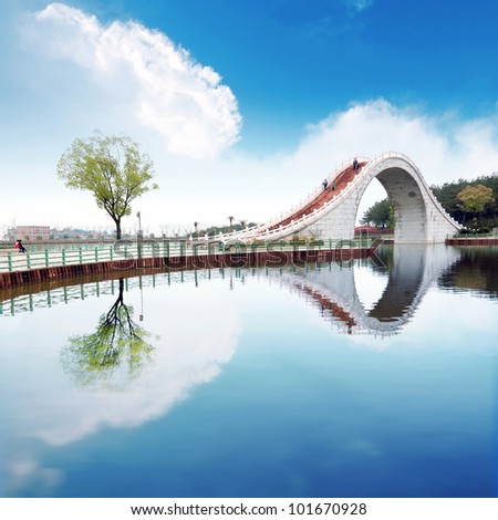 Suzhou gardens, under the blue sky bridges and lakes.
