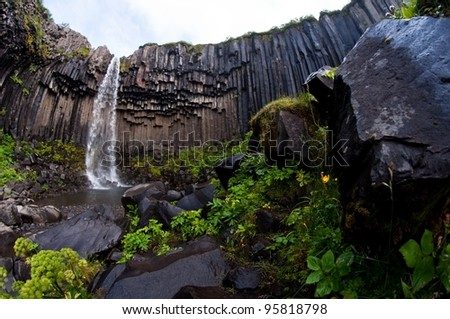Svartifoss, famous Black waterfall, popular tourist spot in Iceland's Skaftafel national park