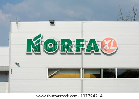 SVENCIONYS - JUN 8: NORFA store sign on June 8, 2014 in Svencionys, Lithuania. Norfa is one of Lithuania\'s biggest grocery chains. Norfa has 132 stores in Lithuania.