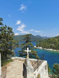 Sveta Marija Holy Mary Island with convent in its middle on Island Mljet in National Park