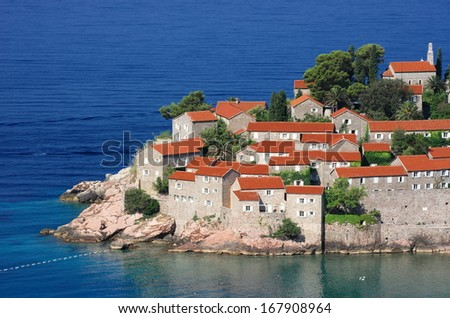 Sveti Stefan Old Town nearby Budva in Montenegro