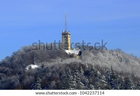 swabian alp; Germany; Rossberg tower in winter;