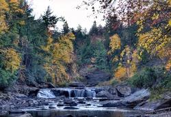Swallow Falls at Swallow Falls State Park during Fall evening.  Near Deep Creek Lake region, Maryland.
