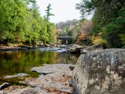 Swallow Falls State Park in the fall in the mountains of Maryland with the creek and waterfalls flowing, cascading in nature, fall foliage and trees to create the perfect fall water landscapes.