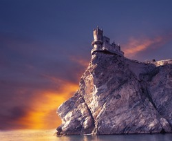 Swallow's Nest castle on the rock on a sunset, the Crimea