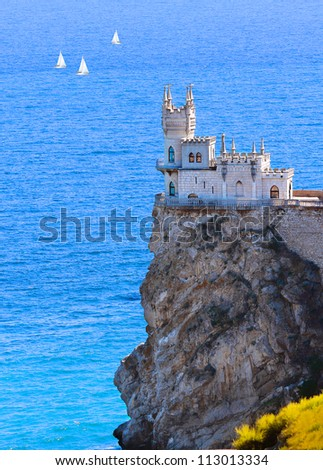 Swallow's Nest Castle over blue marine background, Crimea, Ukraine