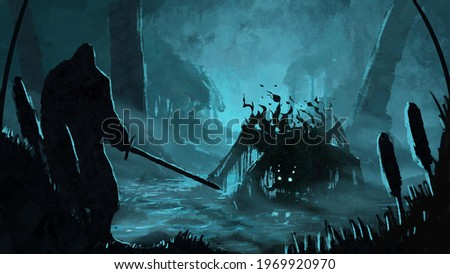 Swamp monster preparing to attack a warrior with a sword