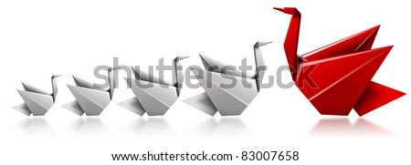 Swan red card in front of 4 white swans, a metaphor for control and authority - stock photo