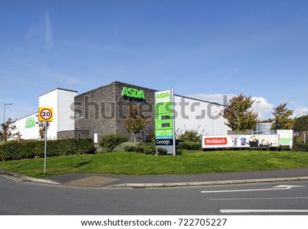 Swansea, UK: September 19, 2017: Asda Supermarket. Asda Stores Limited is an American-owned, British-founded supermarket retailer, headquartered in Leeds, West Yorkshire.  #722705227