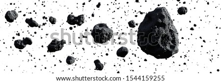 swarm of asteroids isolated on white background (3d space illustration banner)