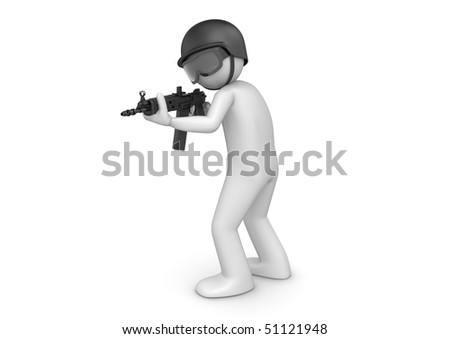 SWAT assault (3d characters isolated on white background series)