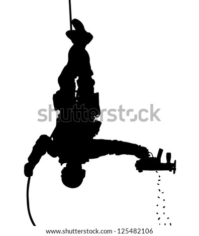 SWAT team soldier shooting while rappelling upside down silhouette. Raster version.