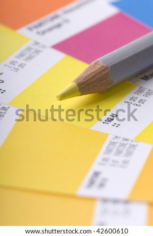 Swatch book and colored pencil