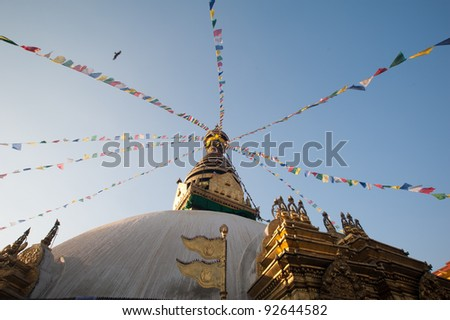 """Swayambhunath pagoda is the famous landmark Buddhist temple in Kathmandu, Nepal. The temple is also know as the """"monkey temple""""."""