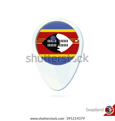Swaziland flag location map pin icon on white background. Raster ...