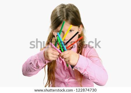 sweat girl holding pencils