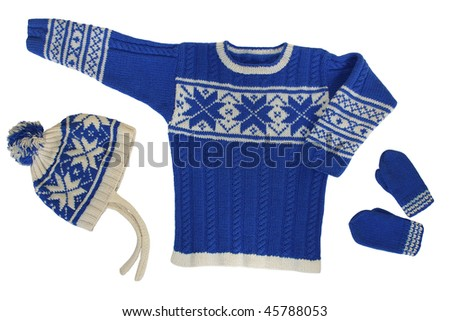 sweater with hat and  mittens on white background