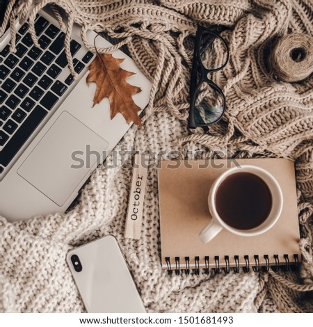 Sweaters and cup of tea with notebook, laptop and phone. Cozy autumn or winter concept.  #1501681493