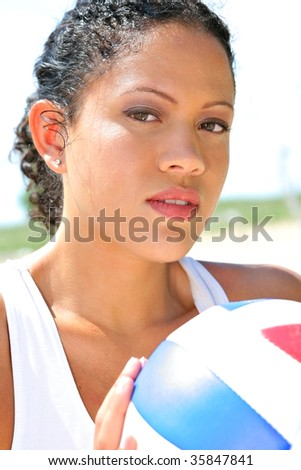 Sweating Natural Looking Happy Healthy Beach Volleyball Player Closeup