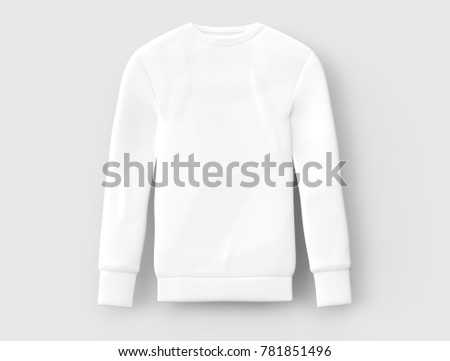Sweatshirt template mockup, blank white cloth for men isolated on light grey background, 3d render