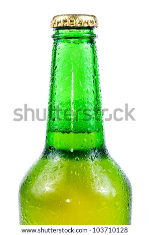 Sweaty bottle of beer. Isolated on white background