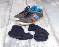 Sweaty socks and sneakers after hard workout