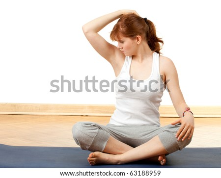 sweaty woman checking scent , or she does not stink - stock photo