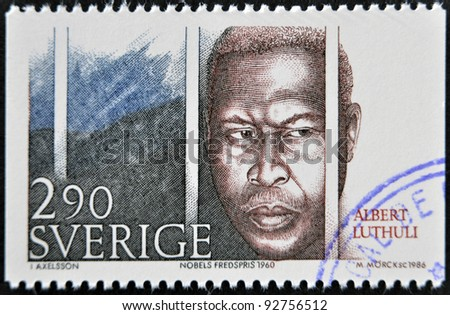 SWEDEN - CIRCA 1986: A stamp printed in Sweden dedicated to Nobel Peace, shows Albert Lutheli, circa 1986