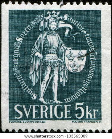 SWEDEN - CIRCA 1970: A stamp printed in Sweden shows Great Seal of Erik IX, circa 1970