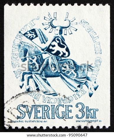 SWEDEN - CIRCA 1970: a stamp printed in the Sweden shows Seal of Duke Erik Magnusson, 1306, Duke on Horseback, circa 1970