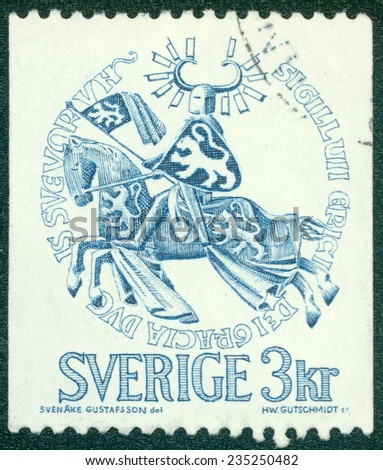 SWEDEN - CIRCA 1976: Postage stamp printed in Sweden, shows the Seal of Duke Erik Magnusson, circa 1970