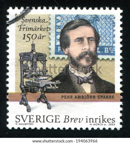 SWEDEN - CIRCA 2005: stamp printed by Sweden, shows Count Pehr Ambjorn Sparre and printing press, circa 2005