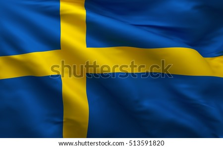 Sweden 3D Flag, Swedish Background (3D Render)