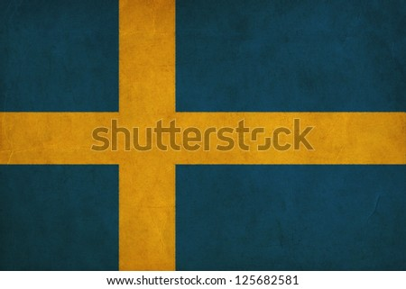 sweden flag drawing ,grunge and retro flag series