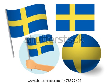 Sweden flag icon set. National flag of Sweden  illustration