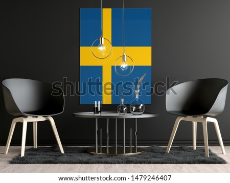 Sweden Flag in Room, Sweden Flag in Photo Frame