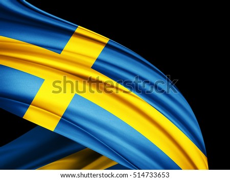 Sweden flag of silk with copyspace for your text or images and black  background -3D illustration