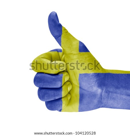 Sweden flag on hand with white background.